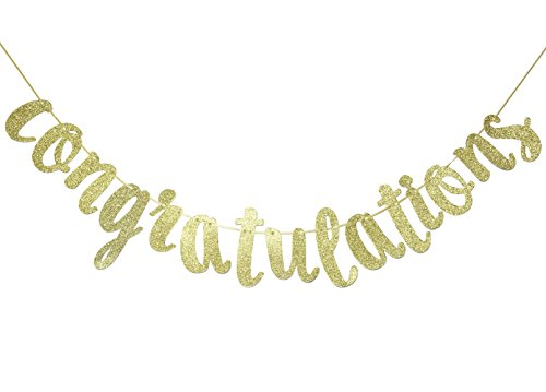 Congratulations Gold Glitter Cursive Banner Sign, Graduation,Retirement Party Supplies Decoration