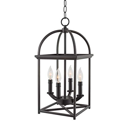 "Kira Home Amesbury 21"" 4-Light Farmhouse Foyer Light Pendant Chandelier, Bird Cage Lantern, Adjustable Height, Oil Rubbed Bronze Finish"
