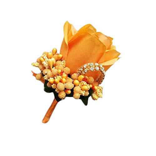 Cupcinu Rose Corsage for Wedding Boutonniere Handmade Decoration Bouquets Ribbon Flower Wedding Prom 1Pcs(Orange)