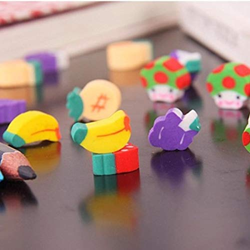 Goodfans 50 Pcs/bag Children Students Casual Cute Mini Fruit Toy Eraser Stationery Tool Cartoon Toy Pen Erasers by Goodfans (Image #5)