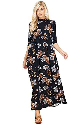 Maxi 3 Annabelle Pockets Women's 4 D5283b with Long Sleeve Floral Dresses Side Black nfnXqFS6