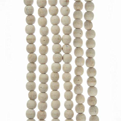 Home Décor Kurt Adler 9' Natural Wood Bead Garland with White Wash Finish Christmas Decor-Set of 3