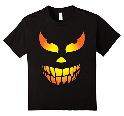 Kids Scary Face Halloween T-Shirt Jack o Lantern Pumpkin 10 (Scary Face For Halloween)