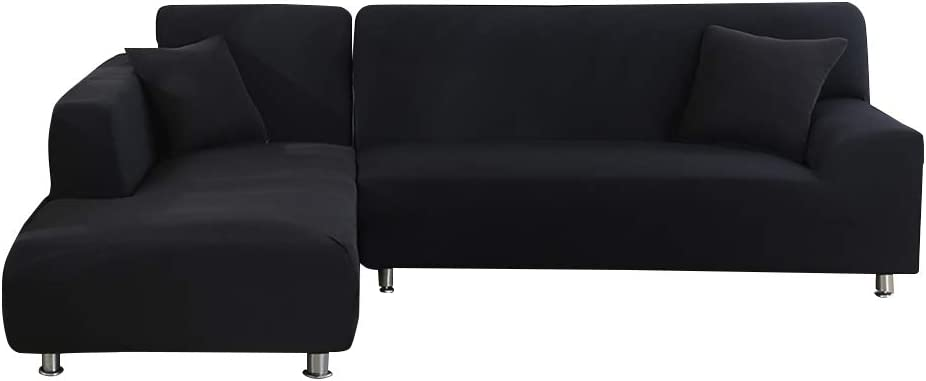 Beacon Pet Sofa Covers for L Shape 2pcs Polyester Fabric Stretch Slipcovers + 2pcs Pillow Covers for Sectional Sofa L-Shape Couch with Anti-Slip Non-Slip (Black 90 inches+118 inches)