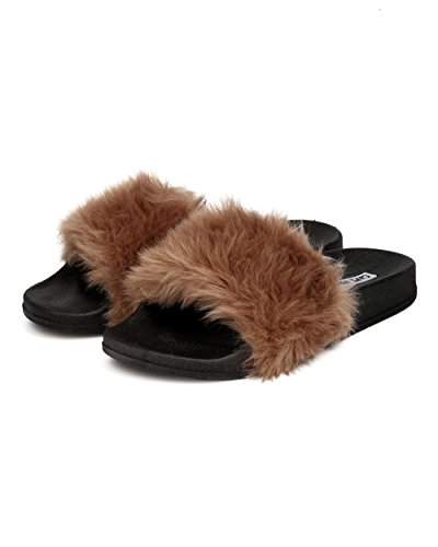 Cape Robbin GK31 Women Furry Open Toe Slip On Flat Sandal - Taupe (Size: 7.0) cCB6rupi