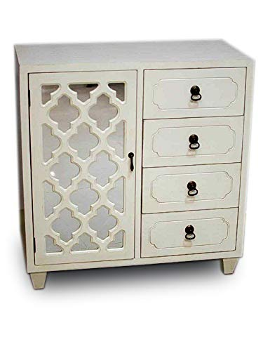 (Heather Ann Creations Aria Collection Contemporary 4 Drawer Wooden Accent Chest and Cabinet with Morocco Pattern Grille and Mirrored Backing Antique White)