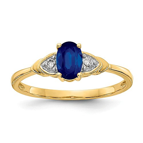 14k Yellow Gold Diamond Sapphire Band Ring Size 7.00 Stone Set Birthstone September Fine Jewelry Gifts For Women For Her from ICE CARATS