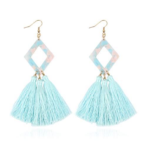 Bohemian Silky Thread Fan Tassel Statement Drop - Vintage Gold Feather Shape Strand Fringe Lightweight Hook/Acetate Dangles Earrings/Long Chain Necklace (Diamond Acetate Tassel - Aqua White)