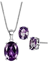 Amethyst Topaz Jewelry Set Sterling Silver 3.8 cttw Gemstone February Birthstone Pendant Necklace Stud Earrings