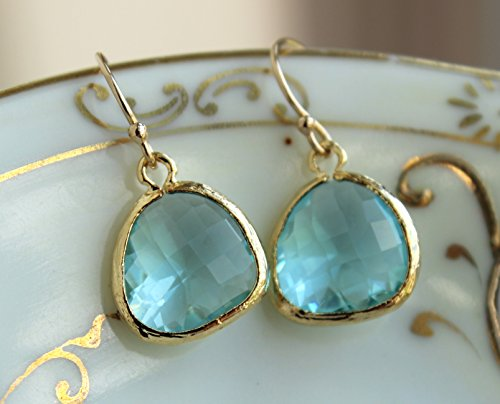 - Blue Earrings 14k Gold Filled Earwires Aquamarine Colored Glass Gem Jewelry Teardrop Dangle Drop