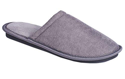 Slippers Mens Slip On Memory Foam Soft Clog Comfort Mule Textile Grey XnnxucnEZx