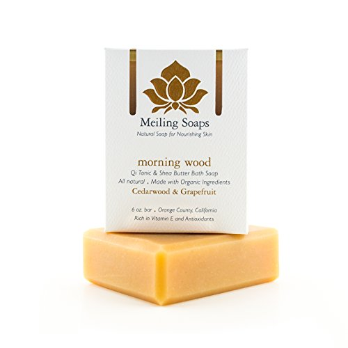 Morning Wood - Organic Natural Soap Bar Cedarwood Lime & Grapefruit Essential Oil Organic Shea Butter Soap w Vitamin E & Antioxidants - 6 Ounce Moisturizing Natural Soap Bar from Meiling Soaps - Natural Scent Soap Set
