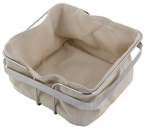 Basket Square Serving - Bread Basket - Stainless Steel Bread Pastry Server with Canvas Liner, Square Bread Storage for French Bread, Artisan Bread, Croissant, Rolls, Muffins, Beige,and Silver, 8.25 x 8.3 x 4.2 Inches