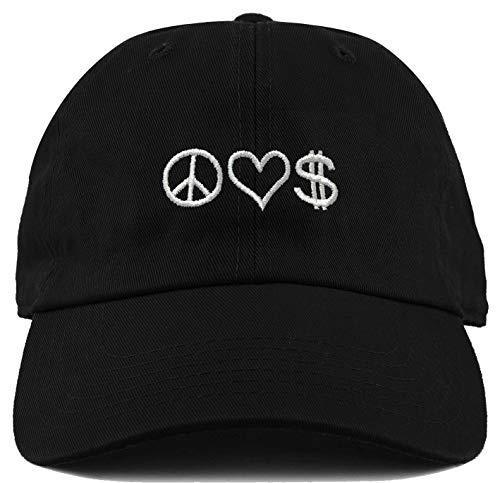 H-214-PLM06 Dad Hat Unconstructed Low Profile Baseball Cap - Peace Love Money (Peace Head)