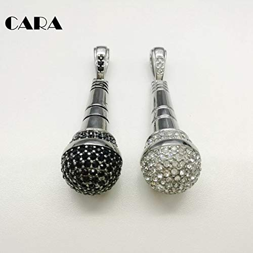 2019 New Arrival Fashion Full CZ Stones Hip hop Microphone Pendant & Necklace Mens Rapper top Quality Stylish Necklace CARA0262 - (Antique Silver Plated, Main Stone Color: Black, Length: 70cm)