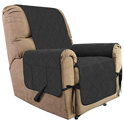 SofaCovers,ReclinerChairCovers,WaterResistantMicroSuedeSlipcovers,Anti-SlipFurnitureProtector,SoftCouchShield,ReclinerCoversforPets,Dogs,Kids(Recliner, Dark Gray) ()