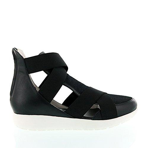 Andia Fora Black Cutout Elastic Sneaker Black IGER2Ef