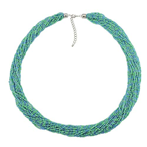 - Bocar Long Multiple Row Handmade Beaded Statement Necklace with Gift Box (NK-10235-green)