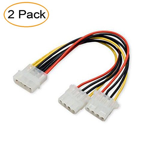 2 Pack Computer Molex 4 Pin Power Supply Y Splitter Cable - 2 Female to 1 Male Internal Power Extension Cable (Small Molex Power Supply)