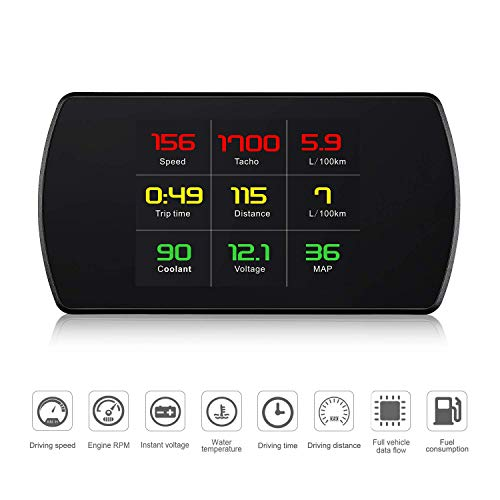 Universal Car HUD Head Up Display Digital GPS/OBD2 Speedometer with Speedup Test Brake Test Overspeed Alarm HD LCD Display for All Vehicle (OBDII Model)