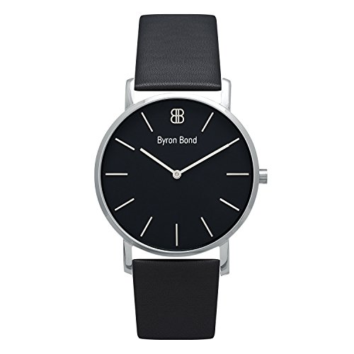 (38mm Ultra Thin Slim Case Minimalist Fashion Watch for Men & Women by Byron Bond (Latimer - Silver Case with Black Dial and Black Leather Strap))