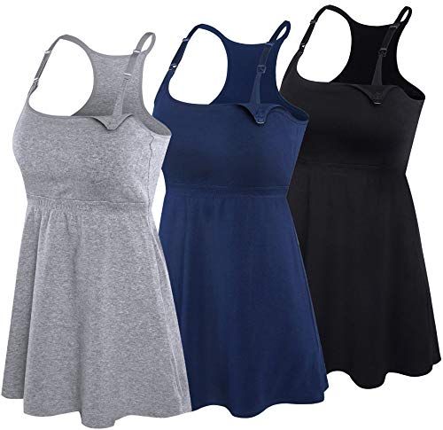 SUIEK Women's Nursing Tank Top Cami Maternity Bra Breastfeeding Shirts (Large, Black+Navy+Gray - Third Style)