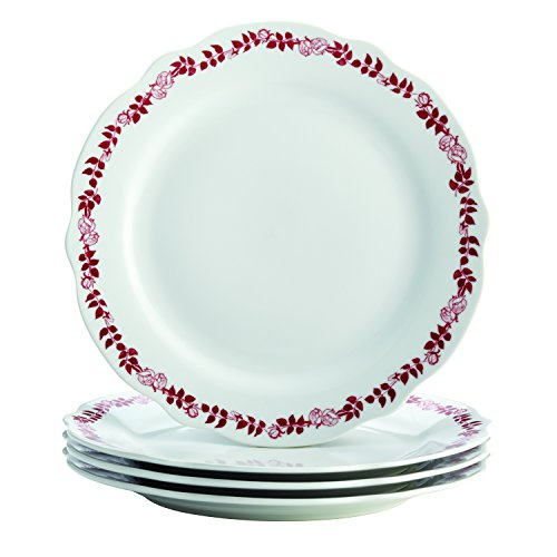 Salad Fluted Plate - BonJour Dinnerware Yuletide Garland 4-Piece Porcelain Fluted Dinner Plate Set, Print