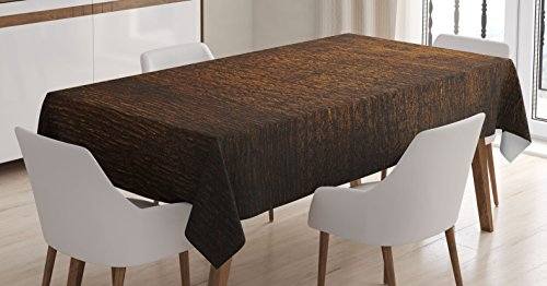 (Ambesonne Wooden Tablecloth, Old Vintage Antique Timber Oak Background Rustic Floor Artisan Photo Print, Rectangular Table Cover for Dining Room Kitchen Decor, 60