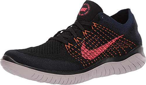 Nike Men's Free Rn Flyknit 2018 Running Shoe (8 M US, Black/Flash Crimson/O\Range Peel) ()