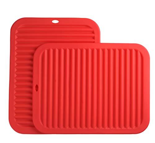 Smithcraft Silicone Trivets mat set 9X12 Big Size Multi-purpose Drying Trivet Mat, Pot Holder, Waterproof, (Set of 2) Non Slip, Flexible, Durable, Dishwasher Safe Red