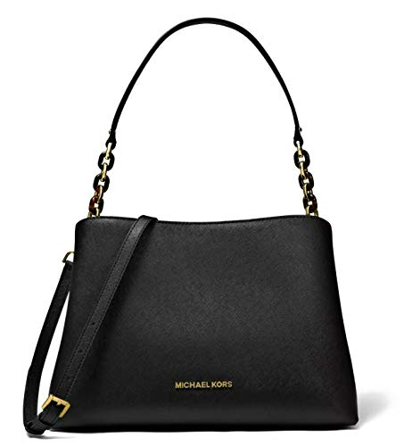 michael kors saffiano crossbody bag black   Michael Kors Sofia Large Leather EW Satchel Shoulder Bag (Black)