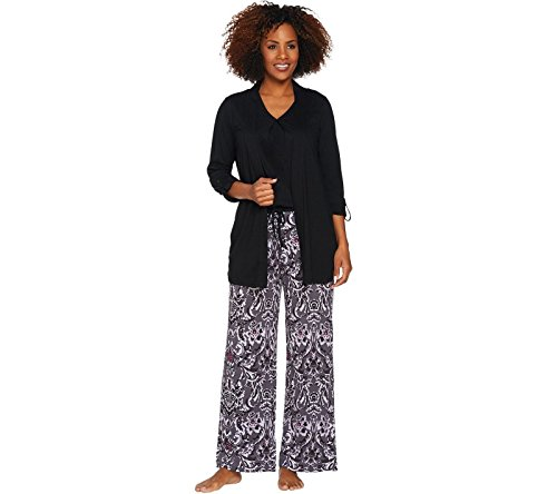 Carole Hochman Watercolor Porcelain 3Pc Patio Pant Pajama Black 3X New A286850 (Cardigan Carole Hochman)