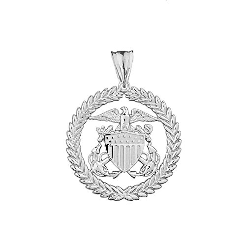 (Elegant U.S. Coast Guard Charm Pendant in Sterling Silver)