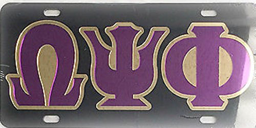 Omega Psi Phi Laser Cut and Inlaid Mirrored Acrylic License Plate / Car Tag