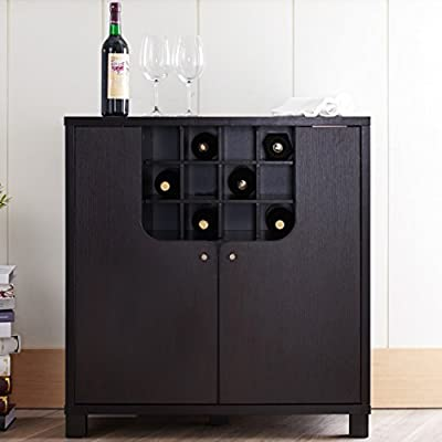 Furniture of America Bento Cappuccino Modern Wine Cabinet - Set includes: One (1) wine cabinet Materials: MDF and veneers Finish: Cappuccino - sideboards-buffets, kitchen-dining-room-furniture, kitchen-dining-room - 41TSu3JzR2L. SS400  -