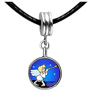 Chicforest Silver Plated Religion Angel Horn Photo Black Crystal Flower dangle Charm Beads Fits Pandora Bracelet