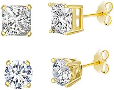 Sterling Silver Cubic Zirconia 4 Prong Round and Square Post Earring 2 Pair Set