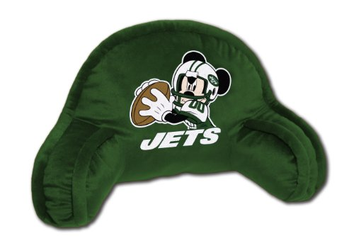 20x12 Bedrest Fan - NFL New York Jets Mickey Mouse Plush 12-Inch-by-20-Inch Embroidered Bed Rest Pillow