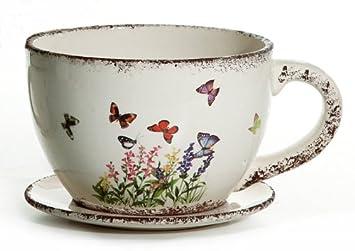Pflanztopf Blumentopf Kaffeetasse Bemalt Amazon De Garten
