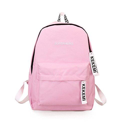 Satchels,Han Shi Fashion Preppy Style Letter Print Zipper Closure School Travel Backpack (Pink, M)