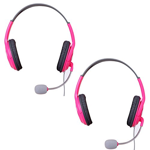 HDE XBOX 360 Headset Headphone Mic 2-Pack PINK Game Chat Live Microphone Compatible with Wireless Controller