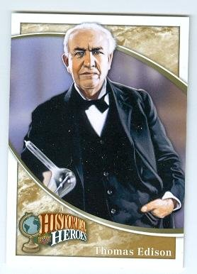 Thomas Edison trading card (Inventor Light Bulb) 2009 Upper Deck Football #343 Historical Heroes from Autograph Warehouse