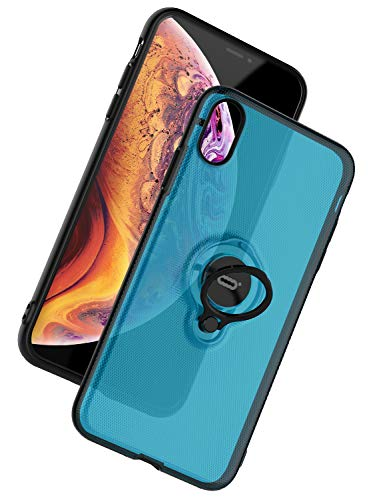 ICONFLANG for iPhone Xs Max Case, Ultra-Slim iPhone Xs Max Case with Ring Holder Stand Compatible Magnetic Car Mount Cover Case for Apple iPhone Xs Max (2018) 6.5 inch - Clear Blue
