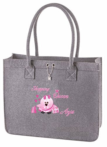 5402dbc90c880 Mein Zwergenland Filztasche mit Namen Shopping Queen