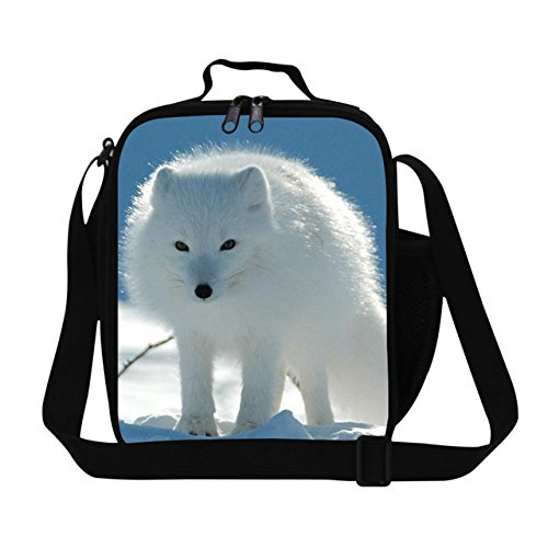New Fashion Animal Kids Lunch Boxes White Fox 3D Printing Thermal Lunch Box For Boys and Girls Personalized Food Bags For - Thailand Shop Columbia