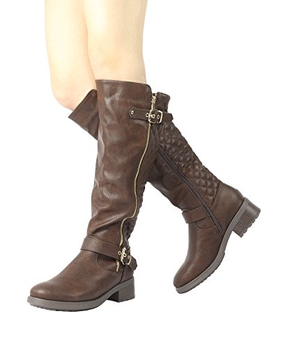 DREAM PAIRS UTAH Women's Quilted Zipper Double Buckles Accent Round Toe Low Stacked Heel Riding Knee High Boots 2A-BROWN-SZ-8.5 Image