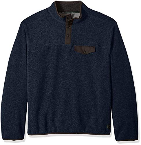 G.H. Bass & Co. Men's Big and Tall Arctic Terrain Polar Fleece 1/4 Snap Mockneck Soft Pullover, Night Sky Heather, 3X-Large