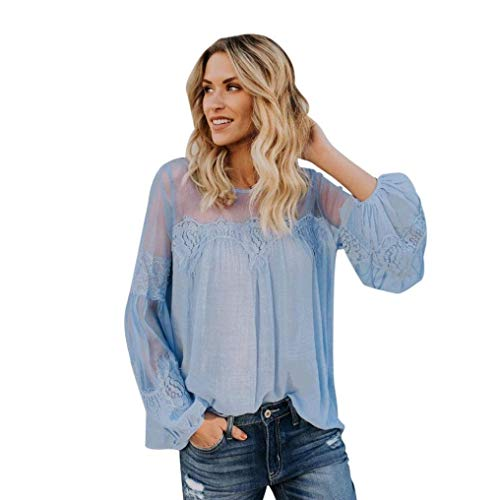 Splicing Maille Tops Haut Costume Fashion Chic Elgante Baggy Col Rond Loisir Perspective Automne Long Femme Blau Shirts Chemisiers Printemps Manches wBqXxI