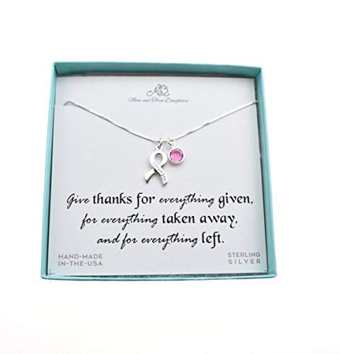 (Awareness Ribbon Charm Pendant In Sterling Silver With The Word