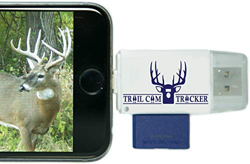 Trail Cam Tracker SD Card Reader for iPhone & Android - Best & Fastest Game Camera Viewer - Deer Hunting Smartphone Memory Card Player - Free Case- Hunt Big Bucks (iPhone (All-in-one Version))